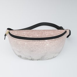 Modern faux rose gold pink glitter ombre white marble Fanny Pack