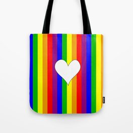 Gay flag with the colors of the rainbow with a heart Tote Bag