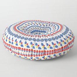 Floral Mandala Blue and Red colour Palette Floor Pillow