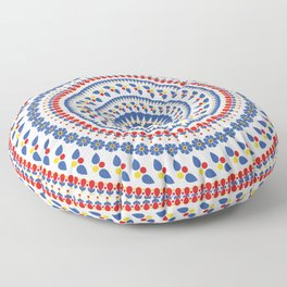 Floral Mandala Blue and Red colour Palette Floor Pillow
