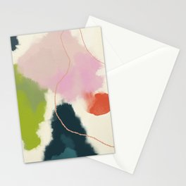 sky abstract with pink & green clouds Stationery Cards