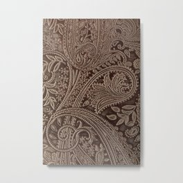 Cocoa Brown Tooled Leather Metal Print