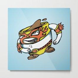 The flying luchador mug of coffee Metal Print