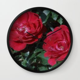 Red Rose Pair Wall Clock