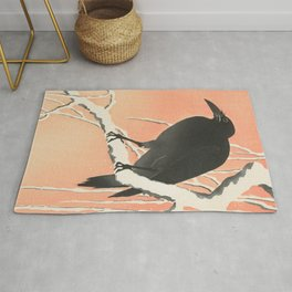 Crow in the winter - Vintage Japanese Woodblock Print Art Rug