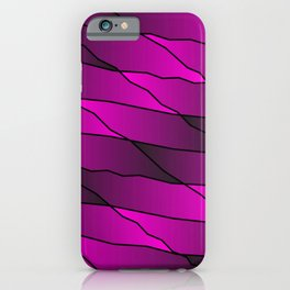 Slanting repetitive lines and rhombuses on iridescent pink with intersection of glare. iPhone Case