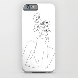 Minimal Line Art Woman with Flowers iPhone Case