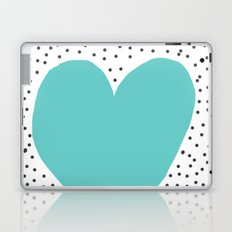 Turquoise heart with grey dots around Laptop & iPad Skin