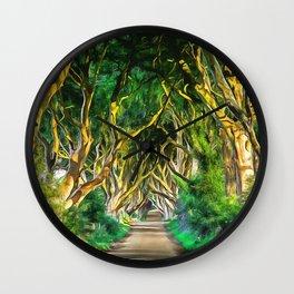 The Dark Hedges, Ireland. (Painting) Wall Clock