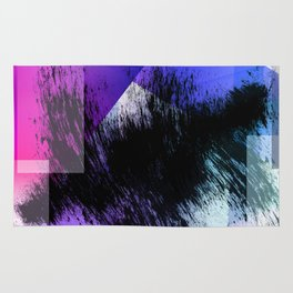 Heavy Black Brushstrokes over Magenta and Purple Shapes Rug