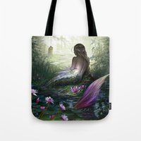 little mermaid Tote Bags featuring Little mermaid by milyKnight