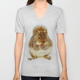 Squirrel with an Acorn Unisex V-Neck