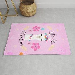 Let's Be Fabulous - Pink Cute Alpaca - Llama with Flowers Rug
