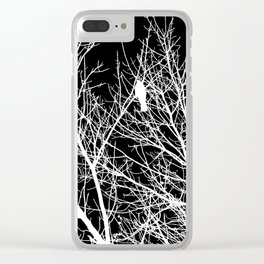 Modern Contemporary Black and White Tree Bird Art A539 Clear iPhone Case