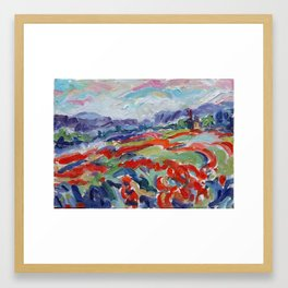 Poppies & Windmill, Château de Sannes Framed Art Print