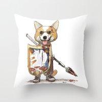 bouletcorp Throw Pillows featuring Corgi Barbare by Bouletcorp