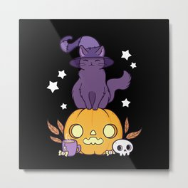 Pumpkin Cat // Black Metal Print