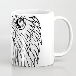Kakapo Owl Parrot Head Drawing Black and White Coffee Mug