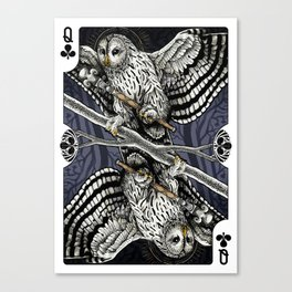 Owl Deck: Queen of Clubs Canvas Print