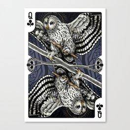 Owl Deck: Queen of Clubs Canvas Print