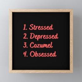 Stressed. Depressed. Cozumel. Obsessed. Framed Mini Art Print