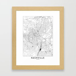 Nashville White Map Framed Art Print