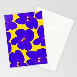 Blue Retro Flowers Yellow Background #society6 #decor #buyart Stationery Cards