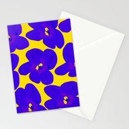 Blue Retro Flowers Yellow Background #decor #society6 #buyart Stationery Cards