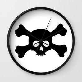 Simple Black Skull and Crossbones Wall Clock