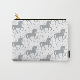 Grey Unicorn and Stars Pattern Carry-All Pouch