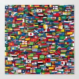 Flags of all countries of the world Canvas Print