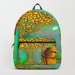 PRECIOUS GREEN FIRE OPALS & GOLD BUDDHA Backpack