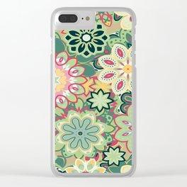 Retro kaleidoscope flower background pattern. Boho mandala ornate. Clear iPhone Case