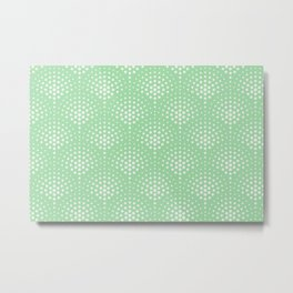 Off White Polka Dot Scallop Pattern on Pastel Mint Green Matches Neo Mint 2020 color of the year Metal Print