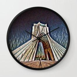 Iran Azadi Tower Artistic Illustration Relief Style Wall Clock
