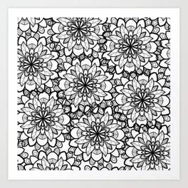 Hand drawn black white floral illustration Art Print
