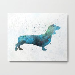 Female Dachsund in watercolor Metal Print