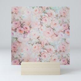 Vintage romantic blush pink teal bohemian roses floral Mini Art Print