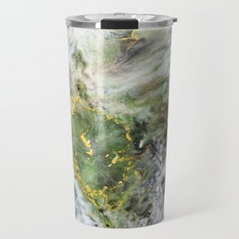 Emerald Green Marble with Gold Travel Mug