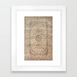 Isfahan Central Persia Old Century Authentic Colorful Dusty Blue Tan Distressed Vintage Patterns Framed Art Print