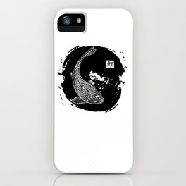 Hand drawn koi fish. Japanese carp line drawing with brush stroke. Doodle. Characters meaning carp iPhone Case