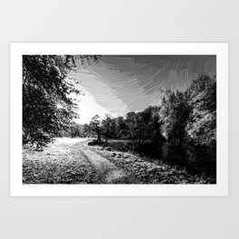 yorkshire river autumn digital oil painting black white Art Print
