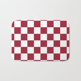 Crimson Red Checkered Pattern Bath Mat