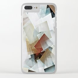 Geometric Stacks White Neutrals Clear iPhone Case