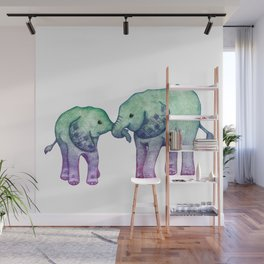 Baby Elephant Love - ombre mint & purple Wall Mural