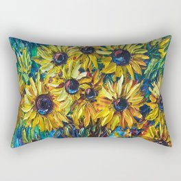 SUNFLOWERS in a Vase — Palette knife painting by OLena Art Rectangular Pillow