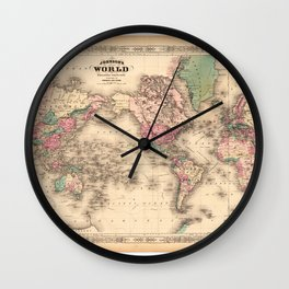 1861 World Map - Johnson's World on Mercators Projection Wall Clock