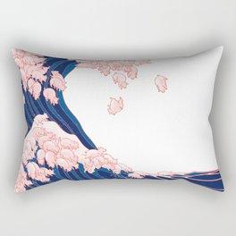 Pink Pigs Waves in White Rectangular Pillow