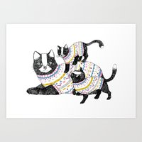 kittens Art Prints featuring Kittens. by Lu Green
