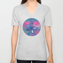 Polynesian Tribal Hibiscus Abstract Unisex V-Neck